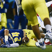 Delaware Cornerback RYAN TORZSA (24) attempts to intercept the ball a week one game between the Delaware Blue Hens and the Delaware State Hornets, Thursday, Sept. 01, 2016 at Tubby Raymond Field at Delaware Stadium in Newark, DE.