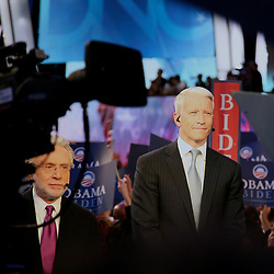 CNN Correspondents Wolf Blitzer (L) and Anderson Cooper (R), comment on the acceptance speech of democratic Vice Presidential nominee Joseph Biden. The Democratic National Convention, Pepsi Center, Denver Colorado, August 26, 2008.