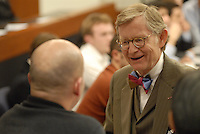 Ohio State President E. Gordon Gee speaks to an attendee prior to the 'Conversation on the Economy,' a forum held at Pfahl Hall in the Fisher College of Business at Ohio State on Nov. 30, 2010..