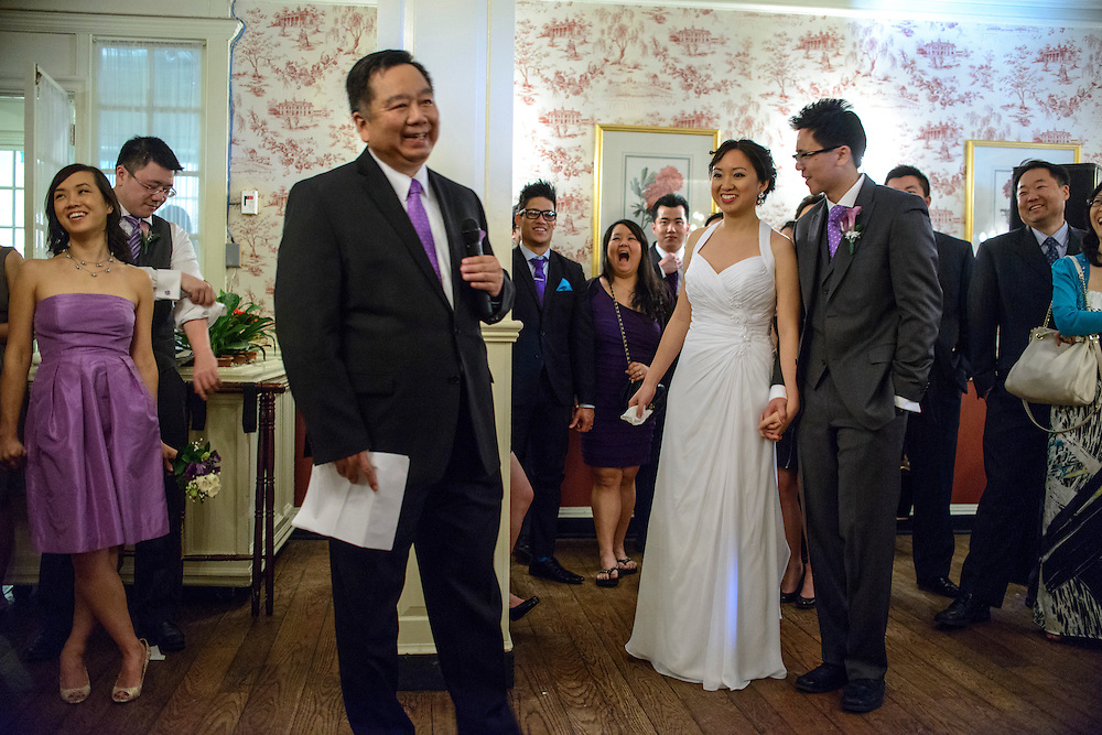 Photo by Matt Roth.Assignment ID: 30140754A..Father of the bride Paul Hsieh makes a speech during Evelyn Hsieh and Michael Wong reception at the the Mount Vernon Inn, in Mount Vernon, Virginia on Saturday, April 06, 2013.