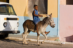 Menino montado em um burro. Municipio de Olho D'Agua do Casado no sertao alagoano / The boy and the donkey. Olho d'Água do Casado  a municipality located in the western of the Brazilian state of Alagoas.