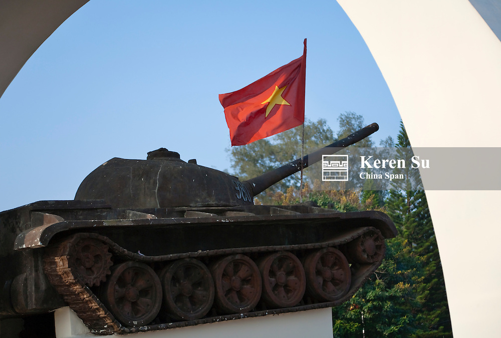 Tank with national flag.