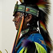 Portrait of  Keith Sharphead, Plains Cree, Thunderbird Pow-Wow in Queens County Farm, New York.<br /> <br /> His regalia is an example of ethnic pride, heritage and a celebration and traditional Native American folk art crafts<br /> <br /> Cree Nation Regalia: Prairie Chicken Dance<br /> Member of the Blackbear Singers,Southern Stye Powwow drum group.<br /> <br /> release # 2457.