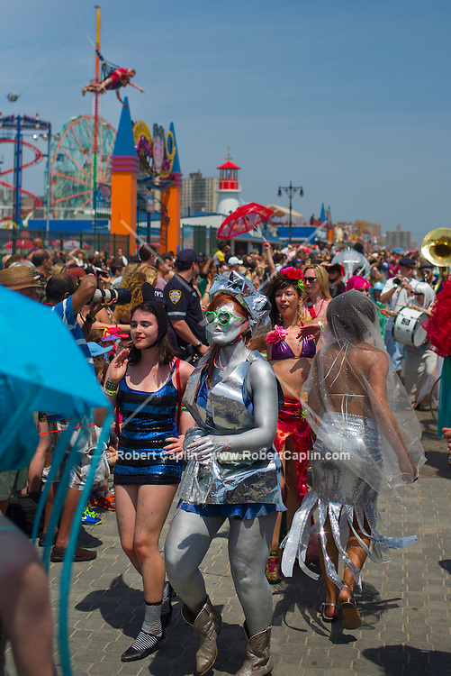 Mermaid Parade at Coney Island 2013. New York <br /> <br /> (Photo by Robert Caplin)
