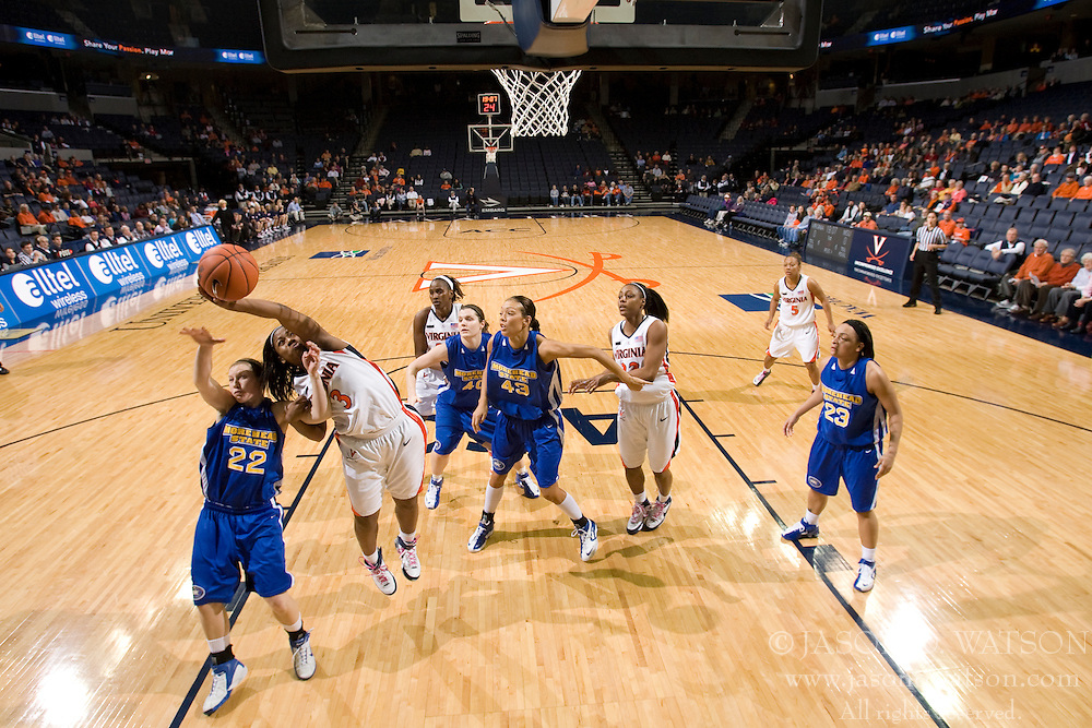 Virginia guard Paulisha Kellum (3) grabs a rebound from Morehead St. guard Tarah Combs (22).  The Virginia Cavaliers women's basketball team defeated the Morehead State Eagles 88-43 at the John Paul Jones Arena in Charlottesville, VA on February 4, 2008.