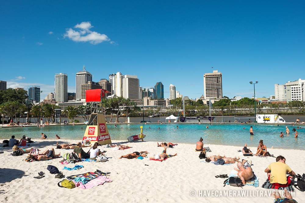 The artificial beach at South Bank across the Brisbane River from the CBD of Brisbane, the Queensland capital.