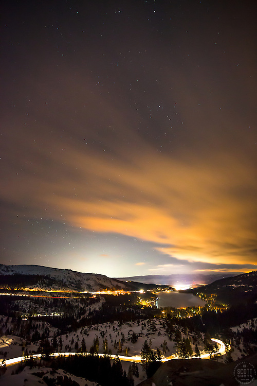 """""""Donner Lake at Night 3"""" - Photograph of a starry night, Donner Lake, and Truckee, California shot at night."""