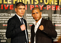 Jan 13, 2009; New York, NY, USA; MIguel Cotto and Michael Jennings pose at the press conference announcing their February 21, 2009 fight.  The two fighters will meet at Madison Square Garden.