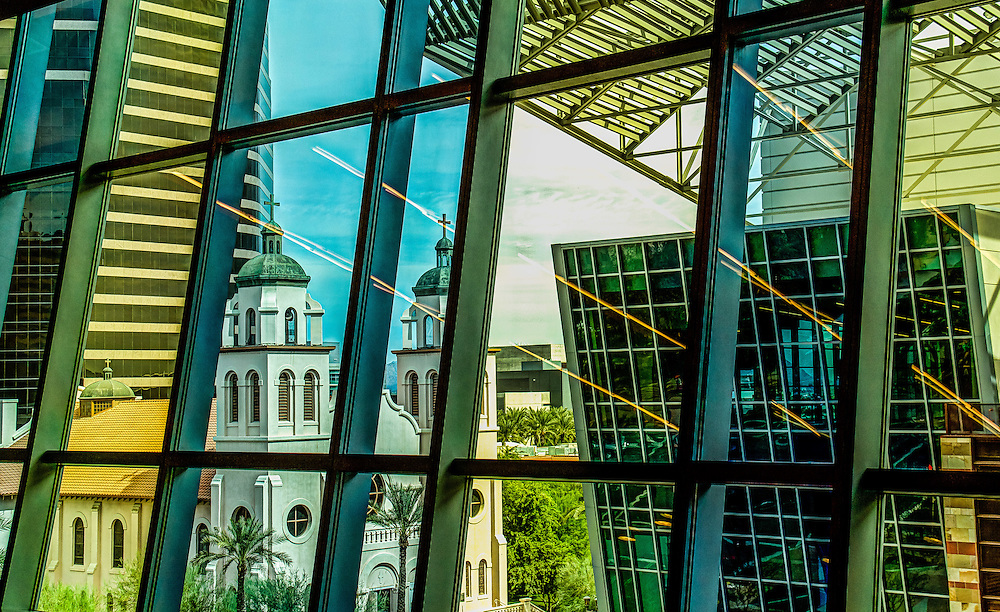 With all of the different angles, colors, tints, contrast and subject matter, I though the shot of the church out of the Phoenix Convention Center was to much to pass up.