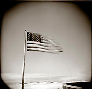 PL09704-00...GEORGIA - Holga image of American Flag on top of Brasstown Bald the highest point in Georgia.