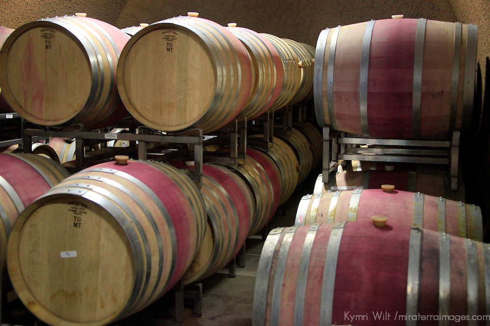 USA, California, Carmel. Wine barrels of Holman Ranch.