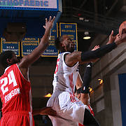 Delaware 87ers Guard RUSS SMITH (5) drives towards the basket as Maine Red Claws Forward OMARI JOHNSON (24) defends in the second half of a NBA D-league regular season basketball game between the Delaware 87ers and the Maine Red Claws  Friday, Feb. 05, 2016 at The Bob Carpenter Sports Convocation Center in Newark, DEL.