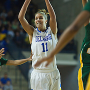 Delaware Forward Elena Delle Donne (11) attempts a pass first half of an NCAA college basketball game against George Mason Thursday, Feb. 23, 2012, at the Bob Carpenter Center in Newark, Del. (AP Photo/Saquan Stimpson)