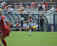 Ole Miss' Alex Hildal (4) vs. Louisiana-Lafayette in college soccer action at the Ole Miss Soccer Stadium in Oxford, Miss. on Sunday, August 26, 2012. Rafaelle Souza delivered her fourth goal of the season in the 12th minute for Ole Miss (4-0).