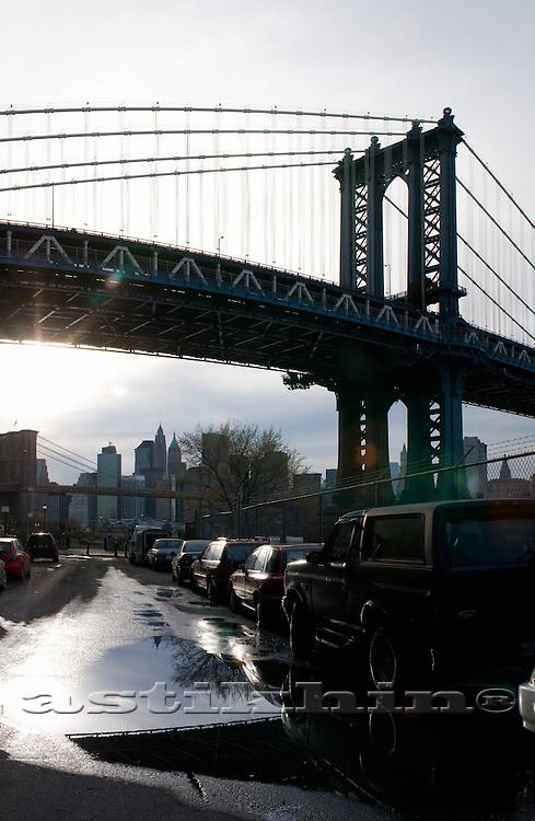 Brooklyn Bridge on backlight