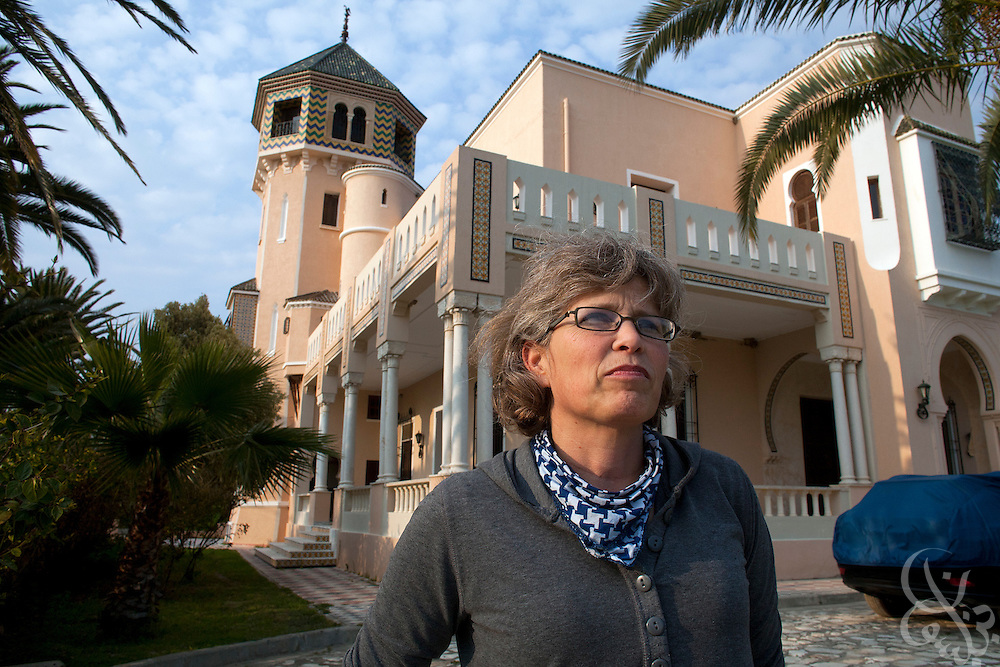 Lucienne Lamouchi poses for a portrait outside her restored French colonial home March 04, 2012 in the village of Mateur, Tunisia. Lamouchi and her Tunisian husband own and operate a jeans export factory in Tunisia. (Photo by Scott Nelson for Elsevier)