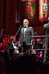 ANAHEIM, CA - JUN 9: Italian tenor Andre Bocelli performed Granada, New York, La Boheme, LaTraviata among others keeping audience mesmerized at the Honda Center in Anaheim, CA. The magical night included producer David Foster on Piano, Violinist Caroline Campbell, American Idol Season 3 winner Soul Singer Fantasia, Cuban Soprano Maria Aleida and Orchestra Conductor Eugene Kohn.. All fees must be agreed prior to publication, Byline and/or web usage link must  read  PHOTO: SilvexPhoto.com