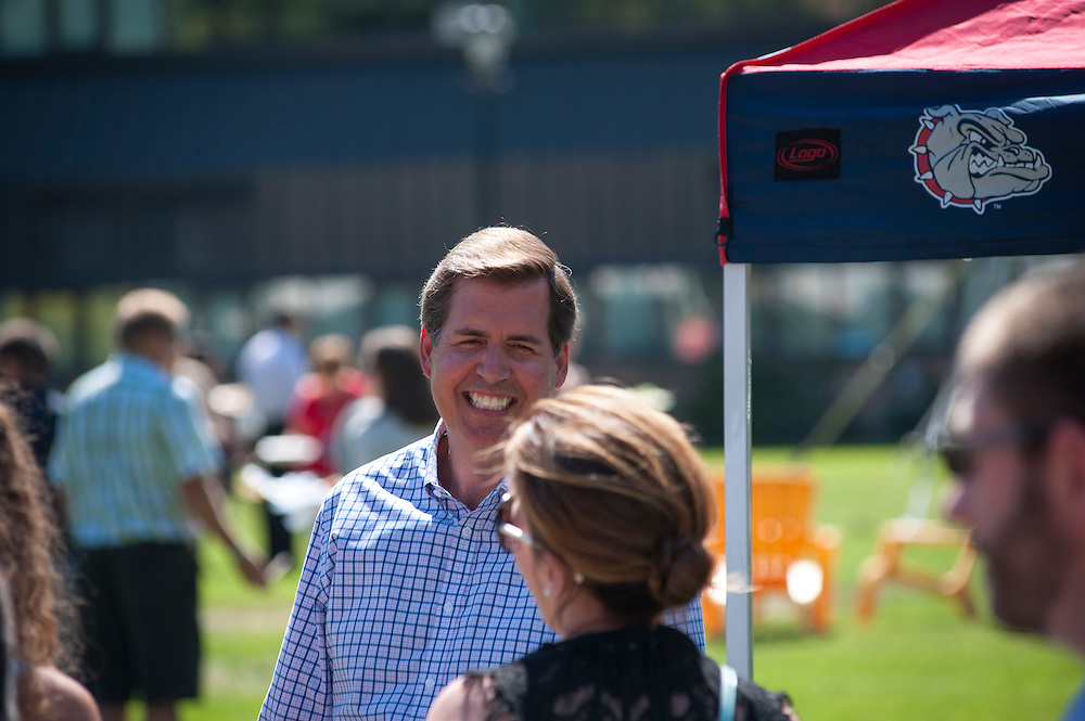 Faculty and Staff take part in the Employee Appreciation Barbecue on the Herak Quad at Gonzaga. (Photo by Gavin Doremus)