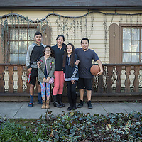 Maria Fernandez with her kids, Carlos (14), Dali (10), Adela (9) and nephew Yahir (13) on Washington Street in Calistoga  daliguerreo@gmail.com