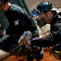 BRADENTON, FL -- January 13, 2010 -- Pittsburg Pirates catcher Ryan Doumit receives a throw during workouts at the Pirate City Spring Training Headquarters in Bradenton, Fla., on Wednesday, January 13, 2010.  (Chip Litherland for the Chip Litherland for the Pittsburgh Tribune-Review)