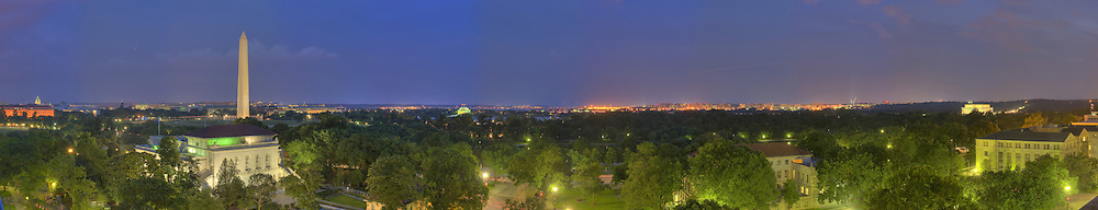 Panoramic View of Washington, DC.  Includes The Capitol, Washington Monument, Smithsonian Mall, Organization of American States, Jefferson Memorial, Reagan National Airport, and Lincoln Memorial..print sizes (inches): 15x3; 24x4.5; 36x7; 48x9; 60x11.5; 70x13
