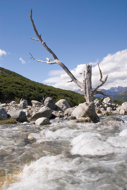 Fed by glaciers on the FitzRoy mountain range, the Rio Blanco's water is crystal clear and perfectly potable.