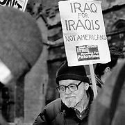 Protesters outside the Parliament demanded that the English and Americans pull out from Iraq, London, UK.