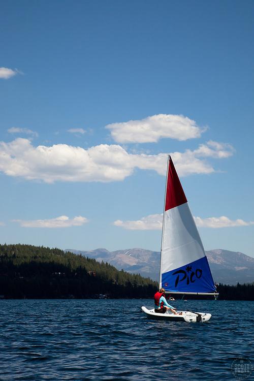 """Laser Sailboat on Donner Lake"" - This Pico Laser sailboat was photographed on Donner Lake, CA"