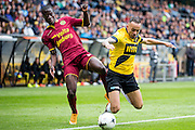 BREDA - NAC Breda - Roda JC , Rat Verlegh stadion , Voetbal , Finale play-offs , seizoen 2014/2105 , 31-05-2015 , Roda JC speler Edwin Gyasi (l) in duel met NAC Breda speler Demy de Zeeuw (r)