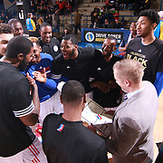 Delaware 87ers players huddle together prior a NBA D-league regular season basketball game between the Delaware 87ers and the Maine Red Claws  Friday, Feb. 05, 2016 at The Bob Carpenter Sports Convocation Center in Newark, DEL.