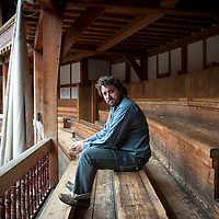 UK. London. Dominic Drumgoole, artistic director of The Globe theatre, London. Photographed in the stands..Photo©Steve Forrest