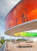 Your Rainbow Panorama, a Rainbow-coloured glass walkway on the roof of the Danish art museum ARoS Aarhus Kuntsmuseum, by Danish-Icelandic artist Olafur Eliasson. Opened 28 May, 2011