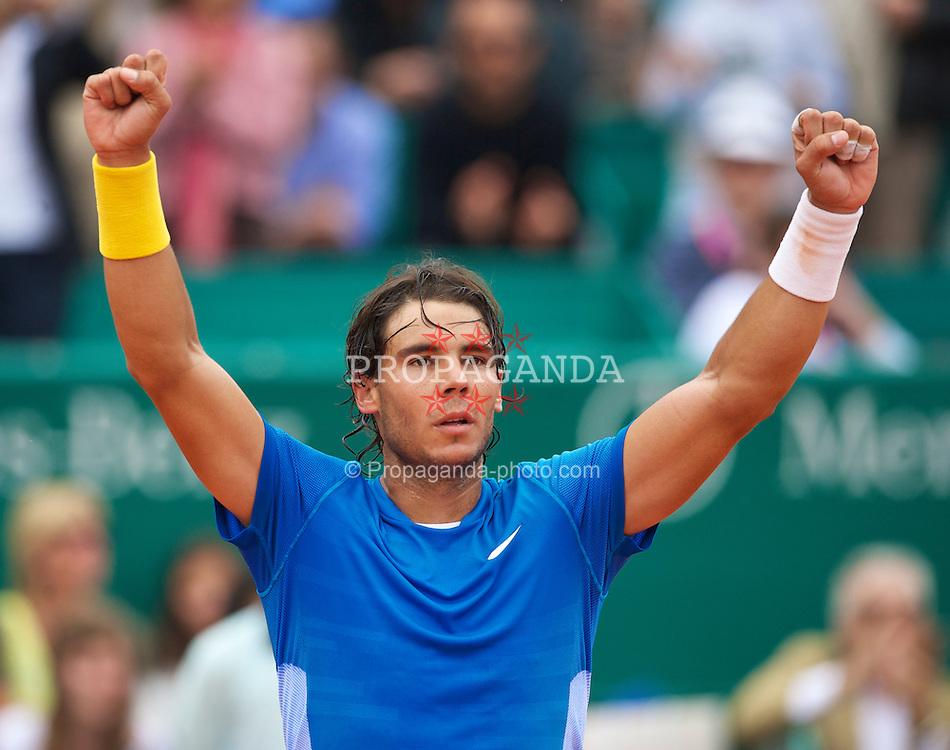 MONTE-CARLO, MONACO - Saturday, April 17, 2010: Rafael Nadal (ESP) celebrates after his 6-2, 6-3 victory during the Men's Singles Semi-Final on day six of the ATP Masters Series Monte-Carlo at the Monte-Carlo Country Club. (Photo by David Rawcliffe/Propaganda)