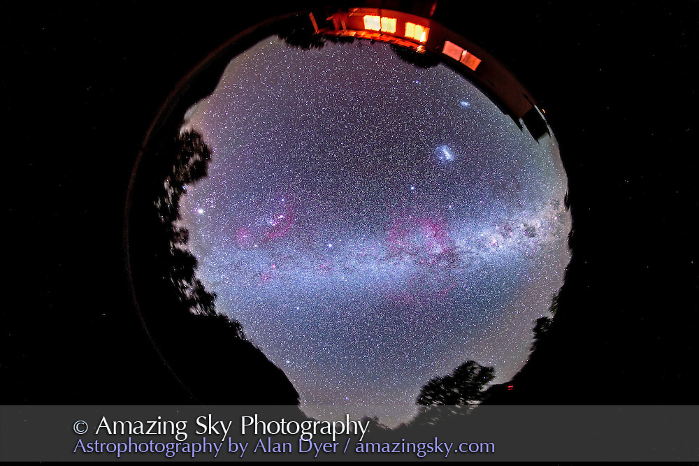 A fish-eye 360° image of the entire southern sky, taken from Coonabarabran, NSW, Australia, December 13/14, 2012, using an 8mm Sigma fish-eye lens and Canon 5D MkII camera for a stack of 4 x 8 minute exposures at f/4 and ISO 800. The ground silhouette is from just one frame to minimize blurring of the horizon - all images were tracked. Orion and Jupiter are at left (west), Sirius, Canis Major, Puppis and Vela are near centre in the Milky Way, while Crux and Carina are rising at right (east). South is at top over the cottage, north at bottom over Timor Rock. The Magellanic Clouds are at top right over the cottage. The large Gum Nebula is at centre in Vela; Barnard's Loop on Orion is at left.