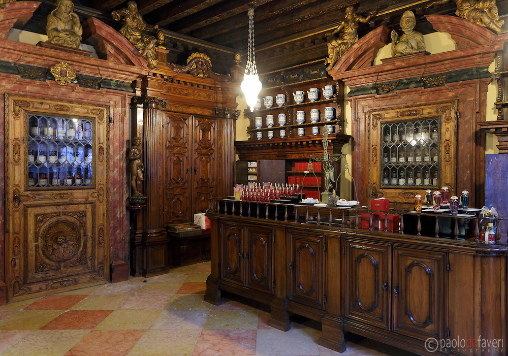 Inside the Pharmacy Santa Fosca, dating back to the XVII century. The oldest pharmacy in Venice, and certainly one of the oldest in the world.