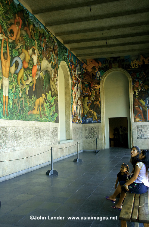 Diego Rivera Mural at Cortez Palace - The Palacio de Cortés is considered to be the most representative building of Cuernavaca and one of the oldest European style buildings in the Americas. The series of arches of the central terrace and the thick walls are the most representative aspects of the original construction.  Just outside the front of the building is an old pyramid base over which Cortés had the structure built.  After having been the residence of Cortés and his descendants for several centuries, the building became a warehouse, a jail, a military barracks, and then the State Government Palace. In 1973 the building was restored and today houses the Museo Regional Cuauhnáhuac, dedicated to the history of Morelos State with famous murals by Diego Rivera.