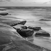 Rock Formations At High Tide - La Jolla Shoreline - Dusk - Black & White