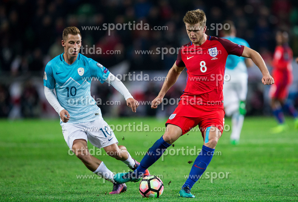 Valter Birsa of Slovenia vs Eric Dier of England during football match between National teams of Slovenia and England in Round #3 of FIFA World Cup Russia 2018 Qualifier Group F, on October 11, 2016 in SRC Stozice, Ljubljana, Slovenia. Photo by Vid Ponikvar / Sportida