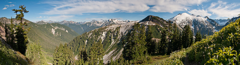 Ruth Mountain, Hannegan Peak hike, Mount Baker Wilderness, North Cascades, Washington, USA. Panorama stitched from 6 images.