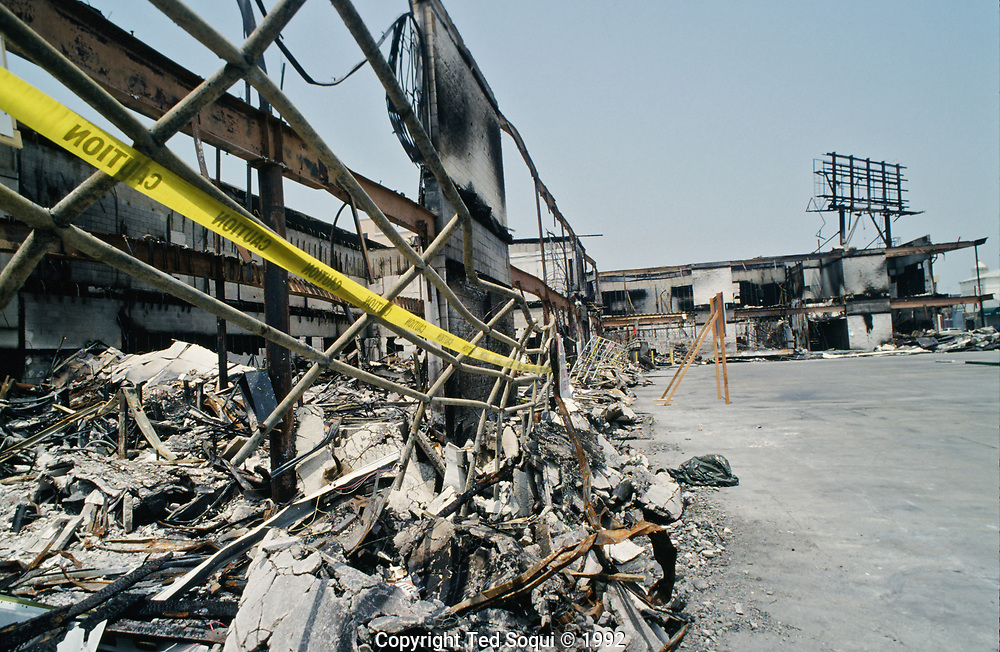 A mini-mall in L.A.'s Koreatown burned to the ground on 6th street and Western Ave.