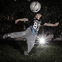 Picture shows Max Currie showing off his football skills.