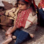Little Maya girl of San Juan Atitan village, Cuchumatanes Mountains, Huehuetenango Department, Guatemala, Central America