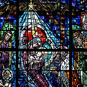 NATIVITY SCENE -- The Nativity scene is depicted in a stained glass window at Nativity of the Lord Church in Cudahy, Wis. (Catholic Herald photo by Sam Lucero)