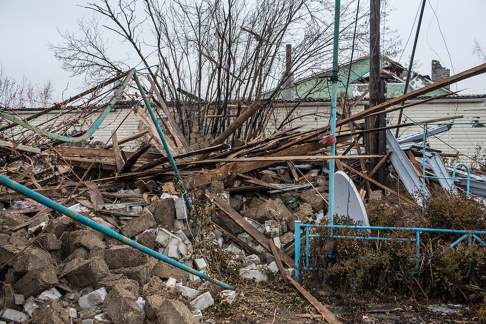 PIKSY, UKRAINE - NOVEMBER 19, 2014: The remains of a destroyed house in Pisky, Ukraine. The village of Pisky is the scene of much of the front-line fighting over the Donetsk airport. CREDIT: Brendan Hoffman for The New York Times
