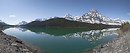 Panoramic Landscape of Lower Waterfowl Lake Along Icefields Parkway, Banff National Park, Alberta, Canada