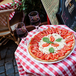 Red wine and margherita pizza, Piazza Navona, Rome, Italy
