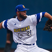 Delaware Pitcher Zach Flowers (21) pitches during a regular season baseball game between Delaware and Saint Joseph's at Bob Hannah Stadium Tuesday April 19, 2016, in Newark.