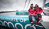 The Sultanate of Oman&rsquo;s MOD70 Musandam -Oman Sail trimaran skippered by Sidney Gavignet (FRA). Shown here as the team cross the line and set a new world record for sailing round Ireland in 40h51m57s (unofficial - official to follow)<br /> Credit - Lloyd Images