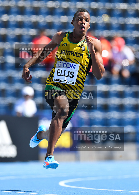 BYDGOSZCZ, POLAND - JULY 21: Nigel Ellis of Jamaica in the heats of the mens 200m during day 3 of the IAAF World Junior Championships at Zawisza Stadium on July 21, 2016 in Bydgoszcz, Poland. (Photo by Roger Sedres/Gallo Images)