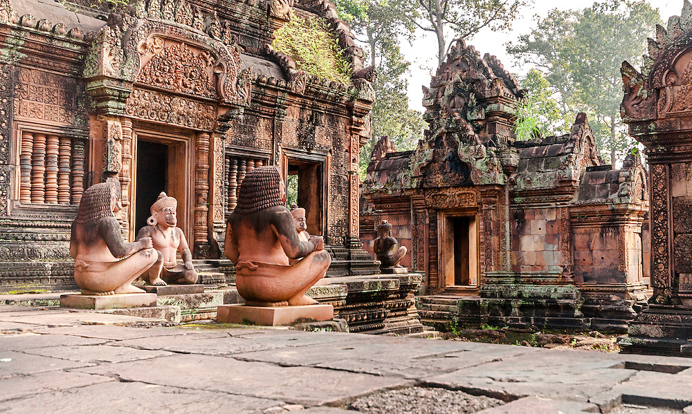 Banteay Srei is a 10th-century Cambodian temple dedicated to the Hindu god Shiva. Located in the area of Angkor in Cambodia. It lies near the hill of Phnom Dei, 25 km north-east of the main group of temples that once belonged to the medieval capitals of Yasodharapura and Angkor Thom.